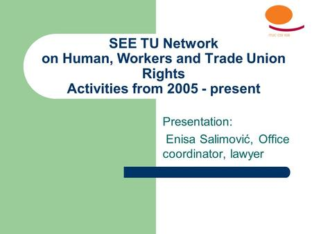 SEE TU Network on Human, Workers and Trade Union Rights Activities from 2005 - present Presentation: Enisa Salimović, Office coordinator, lawyer.