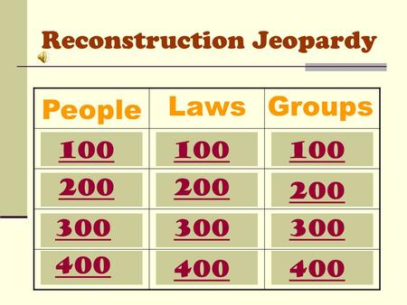 Reconstruction Jeopardy People LawsGroups 100 200 300 400 100 200 300 400 100 200 300 400.