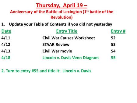 Thursday, April 19 – Anniversary of the Battle of Lexington (1 st battle of the Revolution) 1. Update your Table of Contents if you did not yesterday DateEntry.