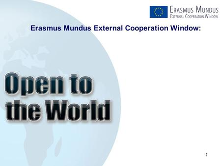 "1 Erasmus Mundus External Cooperation Window:. 2 IROICA – 20.06.2008 ""My participation in the project gives me access to modern knowledge provided by."
