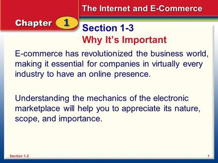 The Internet and E-Commerce Section 1-3 Why It's Important E-commerce has revolutionized the business world, making it essential for companies in virtually.