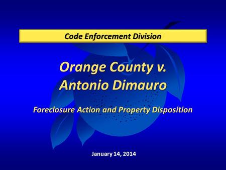Orange County v. Antonio Dimauro Foreclosure Action and Property Disposition Code Enforcement Division January 14, 2014.
