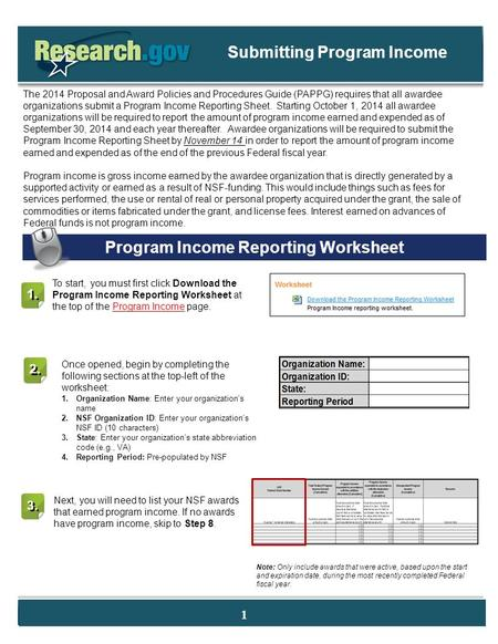 The 2014 Proposal and Award Policies and Procedures Guide (PAPPG) requires that all awardee organizations submit a Program Income Reporting Sheet. Starting.