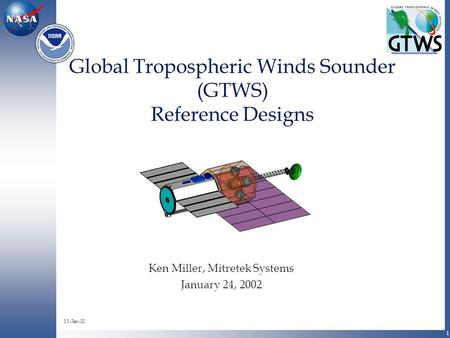 1 Global Tropospheric Winds Sounder (GTWS) Reference Designs Ken Miller, Mitretek Systems January 24, 2002 15-Jan-02.
