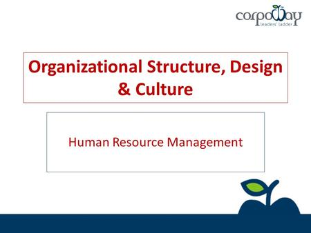 Organizational Structure, Design & Culture Human Resource Management.