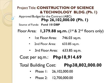 Project Title: CONSTRUCTION OF SCIENCE & TECHNOLOGY BLDG. (Ph. 1) Approved Budget for the Contract (ABC): Php 26,102,000.00 (Ph. 1) Source of Funds:Fund.