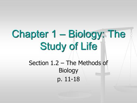 Chapter 1 – Biology: The Study of Life