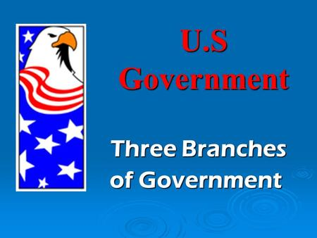 U.S Government Three Branches Three Branches of Government.