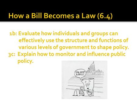 How a Bill Becomes a Law (6