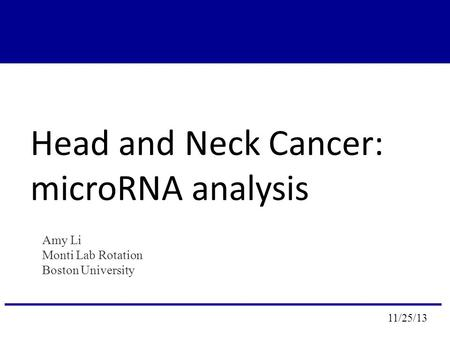 Head and Neck Cancer: microRNA analysis