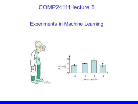 Experiments in Machine Learning COMP24111 lecture 5 Accuracy (%) A BC D 70 80 90 100 Learning algorithm.