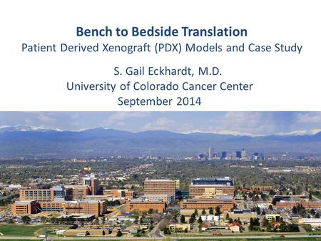 Bench to Bedside Translation Patient Derived Xenograft (PDX) Models and Case Study S. S. Gail Eckhardt, M.D. University of Colorado Cancer Center September.