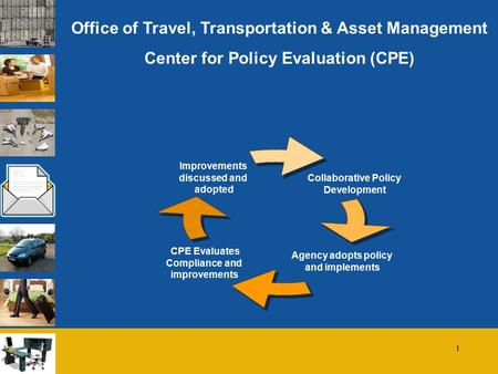 1 Office of Travel, Transportation & Asset Management Center for Policy Evaluation (CPE) Collaborative Policy Development Agency adopts policy and implements.