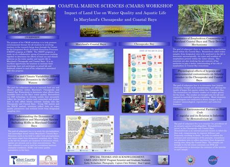 COASTAL MARINE SCIENCES (CMARS) WORKSHOP Impact of Land Use on Water Quality and Aquatic Life In Maryland's Chesapeake and Coastal BaysOVERVIEW Land Use.
