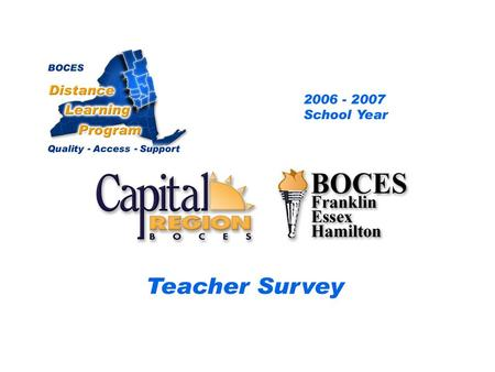 .. CRB/FEH Distance Learning Project Teacher Survey 2006– 2007 School Year BOCES Distance Learning Program Quality Access Support.
