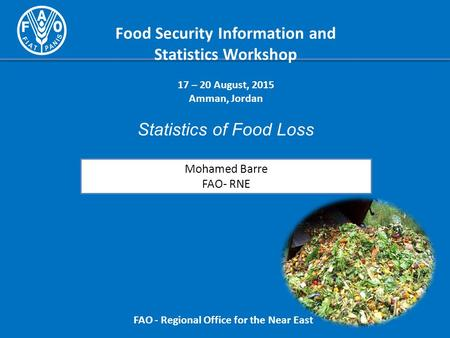 Food Security Information and Statistics Workshop 17 – 20 August, 2015 Amman, Jordan Statistics of Food Loss FAO - Regional Office for the Near East Mohamed.
