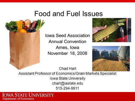 Department of Economics Food and Fuel Issues Iowa Seed Association Annual Convention Ames, Iowa November 18, 2008 Chad Hart Assistant Professor of Economics/Grain.
