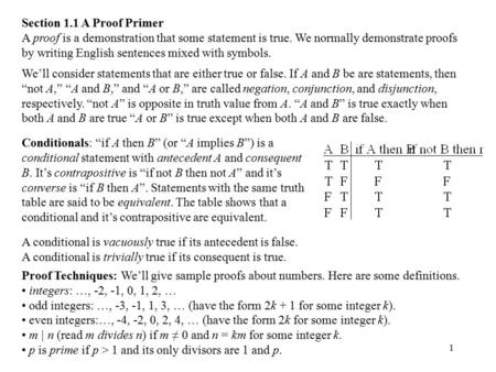 1 Section 1.1 A Proof Primer A proof is a demonstration that some statement is true. We normally demonstrate proofs by writing English sentences mixed.