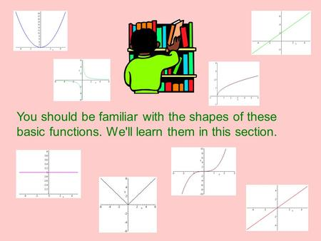Library of Functions You should be familiar with the shapes of these basic functions. We'll learn them in this section.