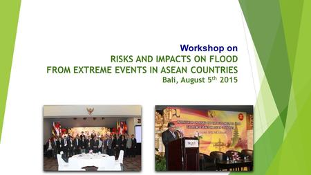 Workshop on RISKS AND IMPACTS ON FLOOD FROM EXTREME EVENTS IN ASEAN COUNTRIES Bali, August 5 th 2015.