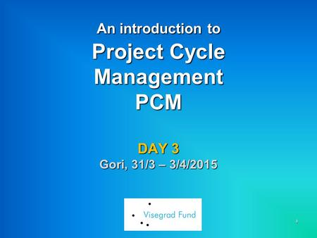 1 An introduction to Project Cycle Management PCM DAY 3 Gori, 31/3 – 3/4/2015.