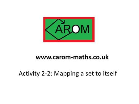 Activity 2-2: Mapping a set to itself www.carom-maths.co.uk.