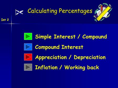 Simple Interest / Compound Calculating Percentages Int 2 Compound Interest Appreciation / Depreciation Inflation / Working back.