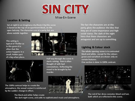 Set at night in an imaginary city (Basin City) the scene is based on the top of an apartment block, on the open balcony. The characters are at a party,