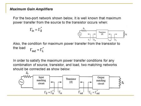 Maximum Gain Amplifiers For the two-port network shown below, It is well known that maximum power transfer from the source to the transistor occurs when: