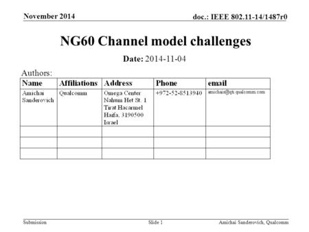 Submission doc.: IEEE 802.11-14/1487r0 November 2014 Amichai Sanderovich, QualcommSlide 1 NG60 Channel model challenges Date: 2014-11-04 Authors:
