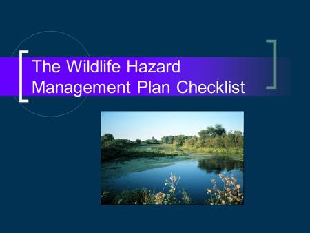 The Wildlife Hazard Management Plan Checklist. Goals More robust WHMP More effective annual review Streamline inspection.
