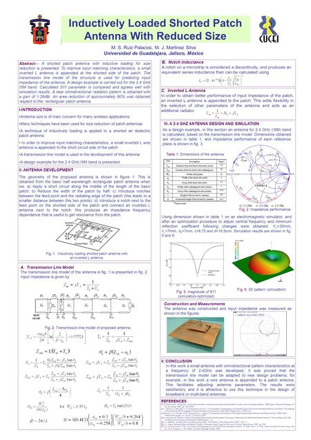 Inductively Loaded Shorted Patch Antenna With Reduced Size M. S. Ruiz Palacios, M. J. Martinez Silva Universidad de Guadalajara, Jalisco, México Abstract—
