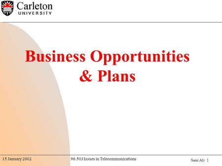 Sami Aly 1 96.503 Issues in Telecommunications15 January 2002 Business Opportunities & Plans.