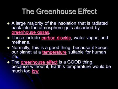 The Greenhouse Effect A large majority of the insolation that is radiated back into the atmosphere gets absorbed by greenhouse gases. A large majority.