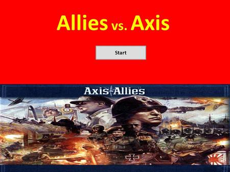 Allies vs. Axis Start. Why Does it Matter? Need to be able to grasp the geographical locations of both allied and axis powers. Help understand where the.