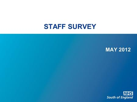 STAFF SURVEY MAY 2012. CONTEXT Survey undertaken between September and December 2011 National response rate was 54% Survey consists of 38 questions based.