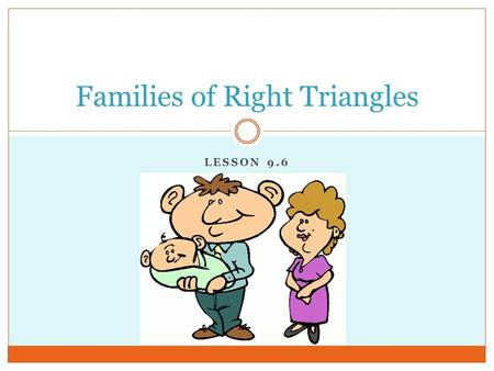 LESSON 9.6 Families of Right Triangles. Pythagorean Triples Whole number combinations that satisfy the Pythagorean Theorem. (Uses multiples.) These triples.