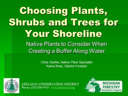 Choosing Plants, Shrubs and Trees for Your Shoreline Native Plants to Consider When Creating a Buffer Along Water Chris Garthe, Native Plant Specialist.