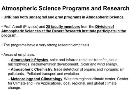 Atmospheric Science Programs and Research