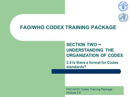 FAO/WHO Codex Training Package Module 2.8 FAO/WHO CODEX TRAINING PACKAGE SECTION TWO – UNDERSTANDING THE ORGANIZATION OF CODEX 2.8 Is there a format for.