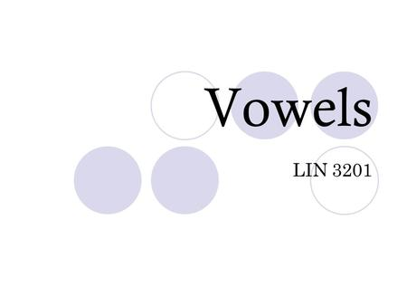 Vowels LIN 3201. Vowels vs. Consonants Vowels Pulmonic Egressive Airstream Usually voiced, but can be voiceless Maintainable articulations More open than.