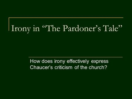 essay on the pardoner tale
