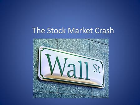 The Stock Market Crash Chapter 14-1. The Nation's Sick Economy The prosperity of the 1920s was superficial: Major industries are not making a profit;