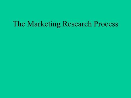 The Marketing Research Process. TYPES OF RESEARCH EXPLORATORY DESCRIPTIVE CAUSAL.