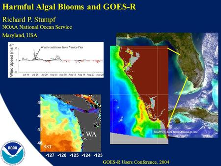 GOES-R, May 2004 Coastal Ocean Science Harmful Algal Blooms and GOES-R GOES-R Users Conference, 2004 SeaWiFS data from OrbImage, Inc. Richard P. Stumpf.