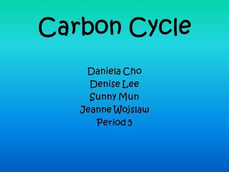 Carbon Cycle Daniela Cho Denise Lee Sunny Mun Jeanne Wojslaw Period 5.