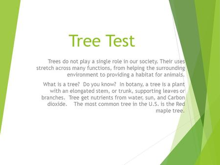 Tree Test Trees do not play a single role in our society. Their uses stretch across many functions, from helping the surrounding environment to providing.