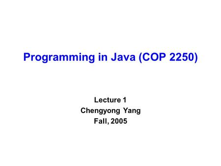 Programming in Java (COP 2250) Lecture 1 Chengyong Yang Fall, 2005.