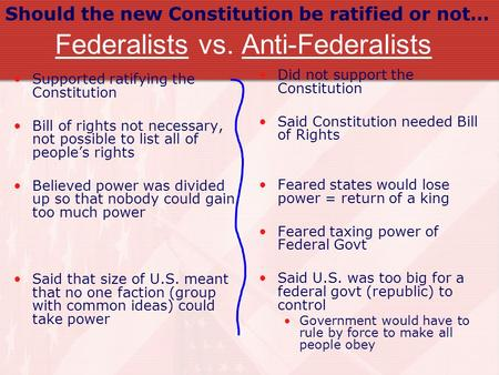 Federalists vs. Anti-Federalists Supported ratifying the Constitution Bill of rights not necessary, not possible to list all of people's rights Believed.