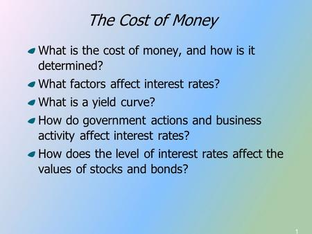 1 What is the cost of money, and how is it determined? What factors affect interest rates? What is a yield curve? How do government actions and business.